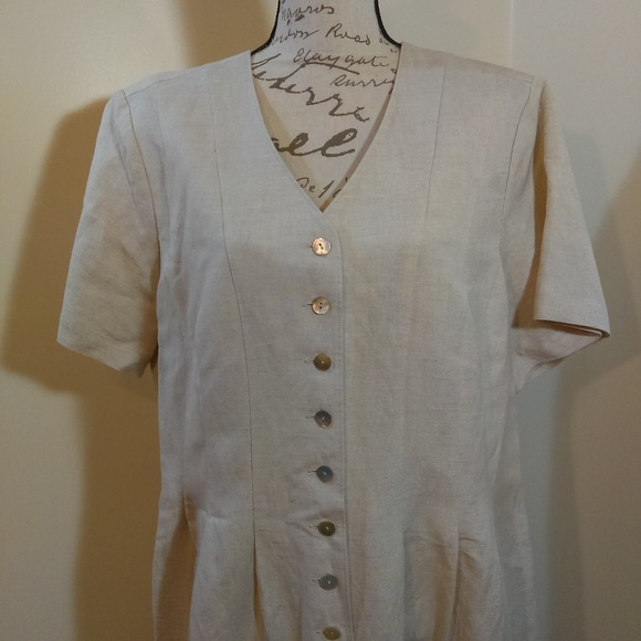 Orvis Dresses & Skirts - Orvis Linen Ecru Button Down Dress NWT